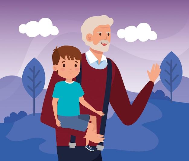 Avô com neto na paisagem de cena Vetor grátis