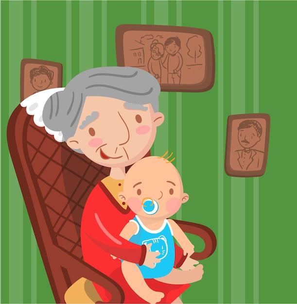 Avó com seu neto, foto no fundo do interior da sala retrô, Vetor Premium