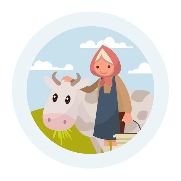 Avó com uma vaca. o emblema de produtos lácteos. Vetor Premium