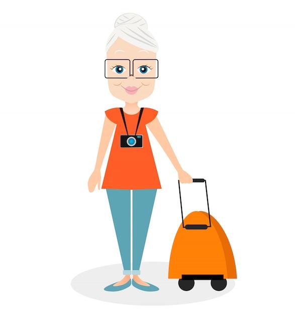 Avó com uma viagem packsack. viajando com a mochila. Vetor Premium