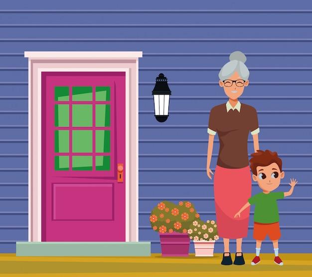 Avó da família com desenhos animados dos netos Vetor Premium