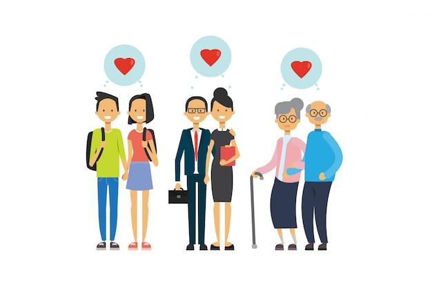 Avó e avô, pai e adolescentes casal apaixonado, família de várias gerações Vetor Premium