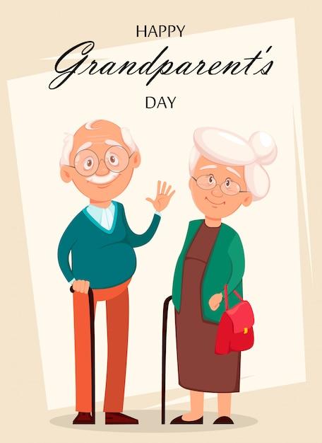 Avô e avó personagens de desenhos animados Vetor Premium