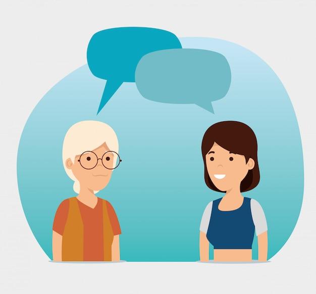 Avó e menina com mensagem de bolhas do bate-papo Vetor grátis
