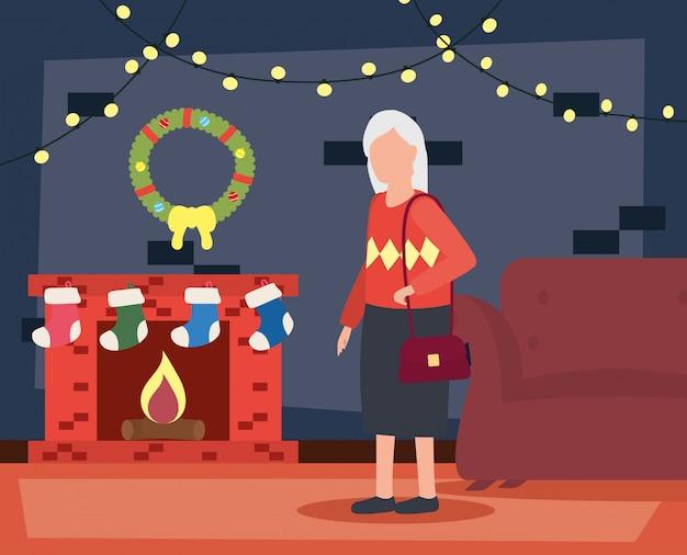 Avó na sala de estar com decoração de natal Vetor grátis