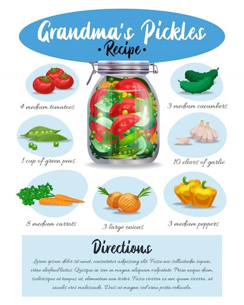 Avó pickles marinada receita pictórica colorida com ingredientes instruções escritas página de folheto infográfico apetitoso culinária Vetor grátis