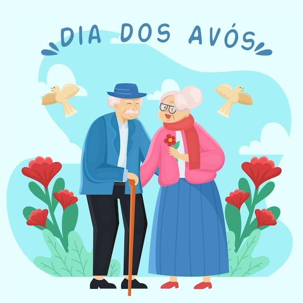 Avós bonitos casal e flores vermelhas Vetor grátis