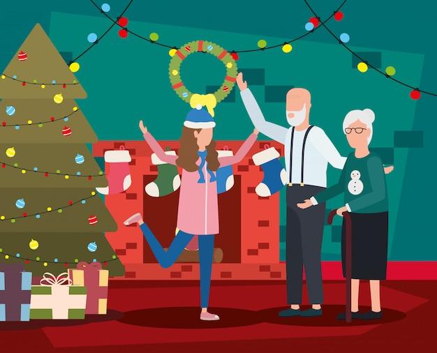 Avós com neta com decoração de natal Vetor grátis
