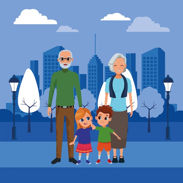 Avós da família e desenhos de netos Vetor grátis