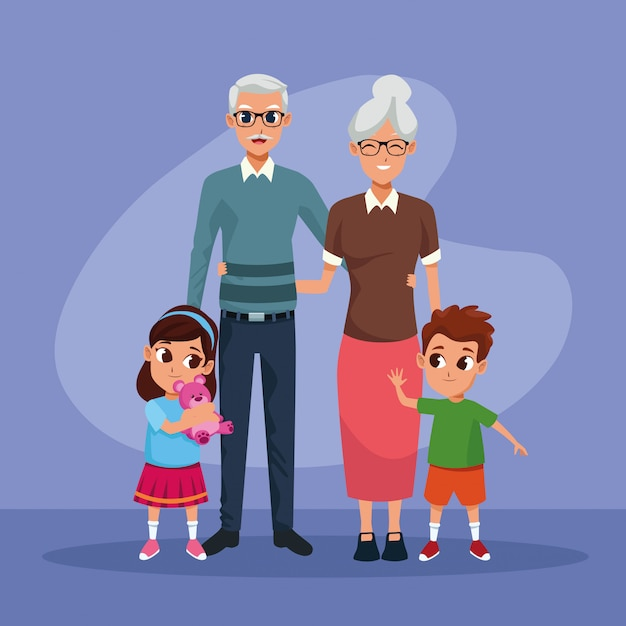 Avós e netos crianças desenhos animados Vetor grátis