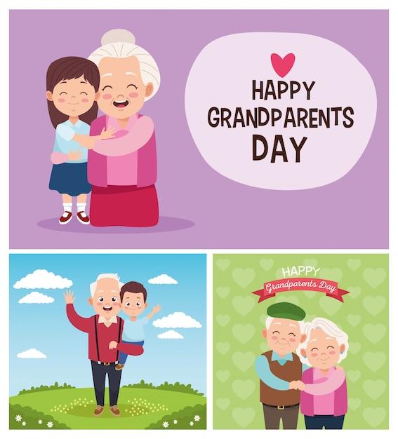 Avós felizes bonitos com crianças no acampamento. feliz dia dos avós Vetor Premium