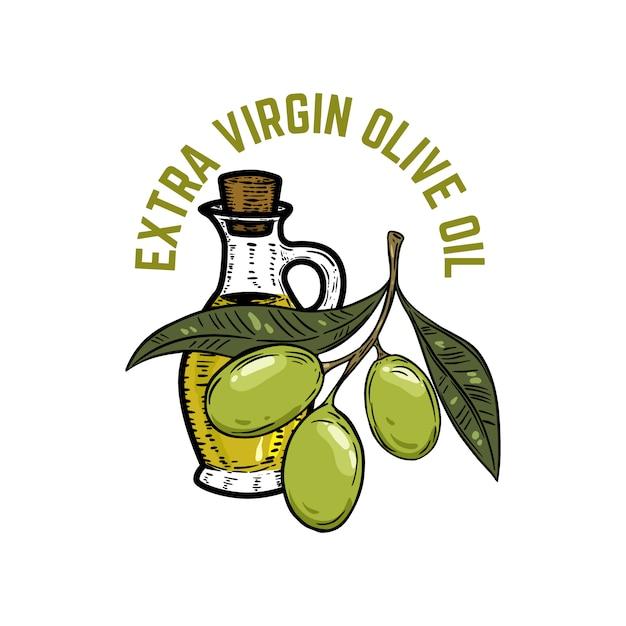 Azeite virgem extra. ramo de oliveira. elemento para emblema, sinal, crachá, etiqueta. ilustração Vetor Premium