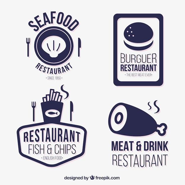 Azul coleção emblemas restaurante Vetor grátis