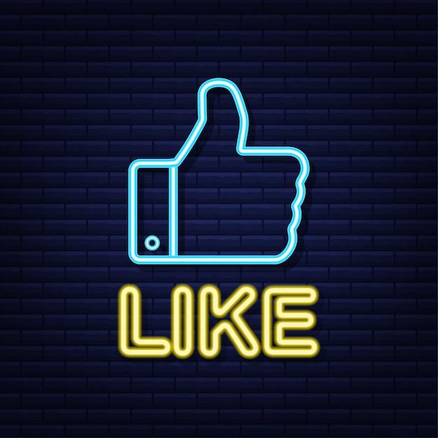 Azul como néon na luz de fundo. polegar ícone. mão como. rede de mídia social. ilustração. Vetor Premium