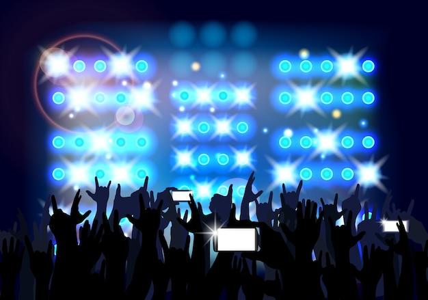 Azul da multidão do fundo de povos do partido. Vetor Premium