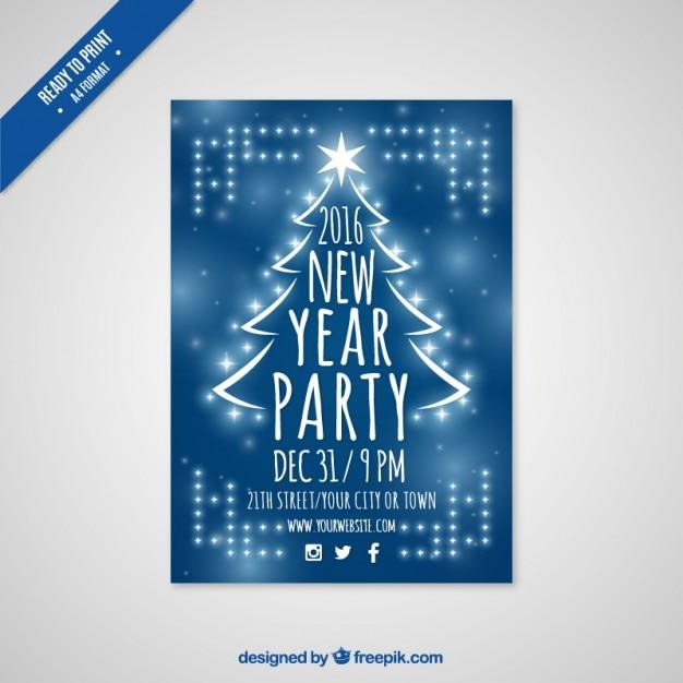 Azul do partido de ano novo fyer 2016 Vetor grátis