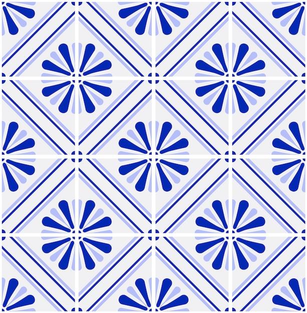 Azul e branco azulejo padrão vector Vetor Premium