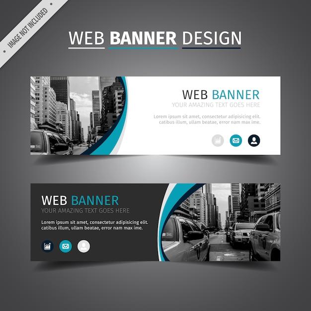 Azul e branco design web banner Vetor grátis
