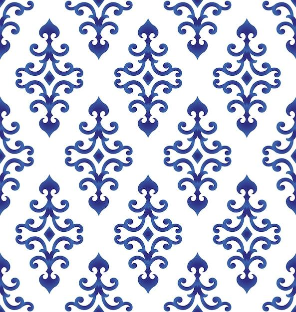 Azul e branco padrão japão e estilo chinês, fundo de porcelana Vetor Premium
