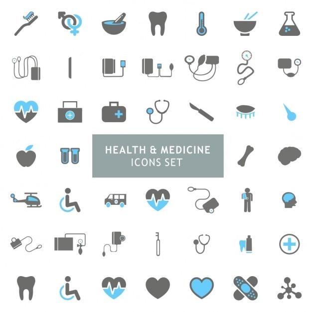 Azul e cinza saúde e medicina icon set Vetor grátis