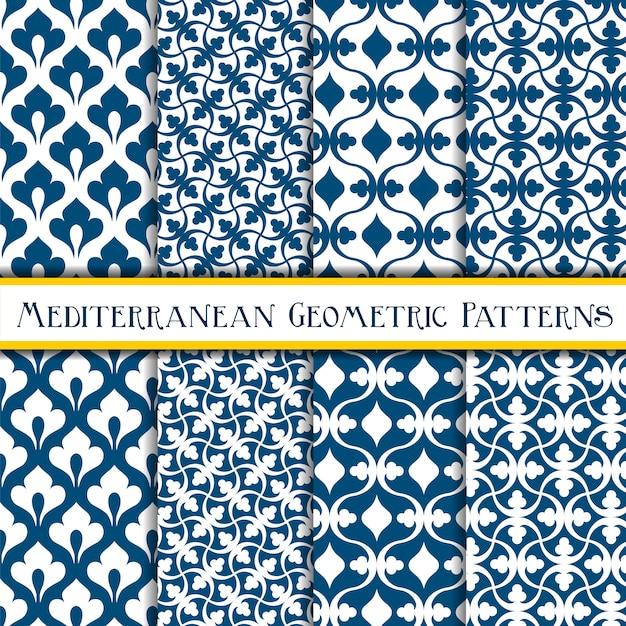 Azul elegante geométrico sem costura padrão mediterrâneo Vetor Premium