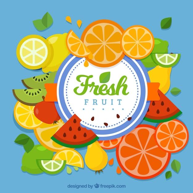 Azul, fundo, fruta, fatias Vetor grátis