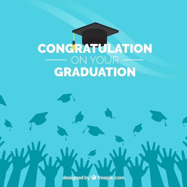 Azul, graduação, congratulação, fundo Vetor grátis