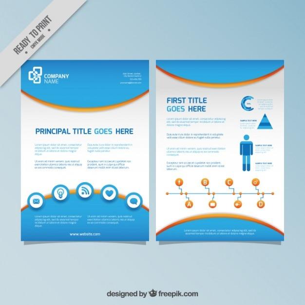 Azul infografia panfleto | Baixar vetores grátis