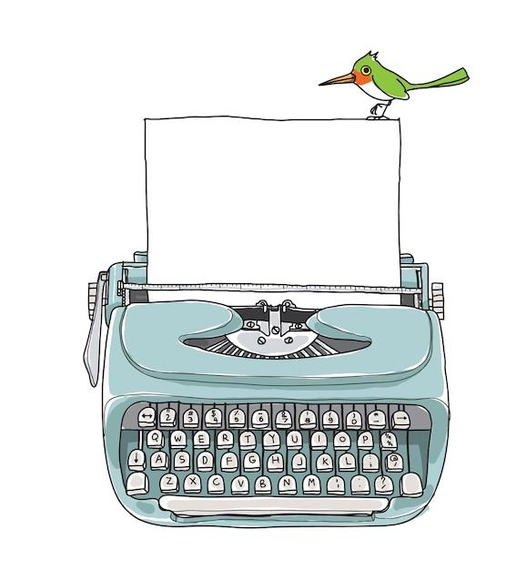 Azul máquina de escrever vintage e pássaro verde mão desenhada vector Vetor Premium