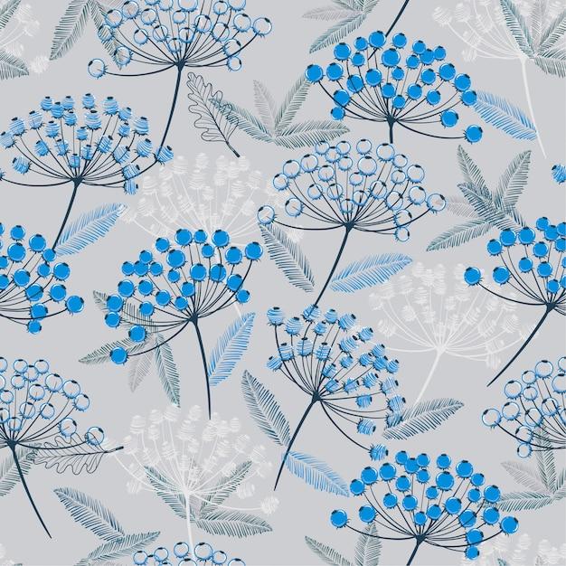 Azul monótono de inverno padrão de vetor sem costura desenhada de mão. Vetor Premium