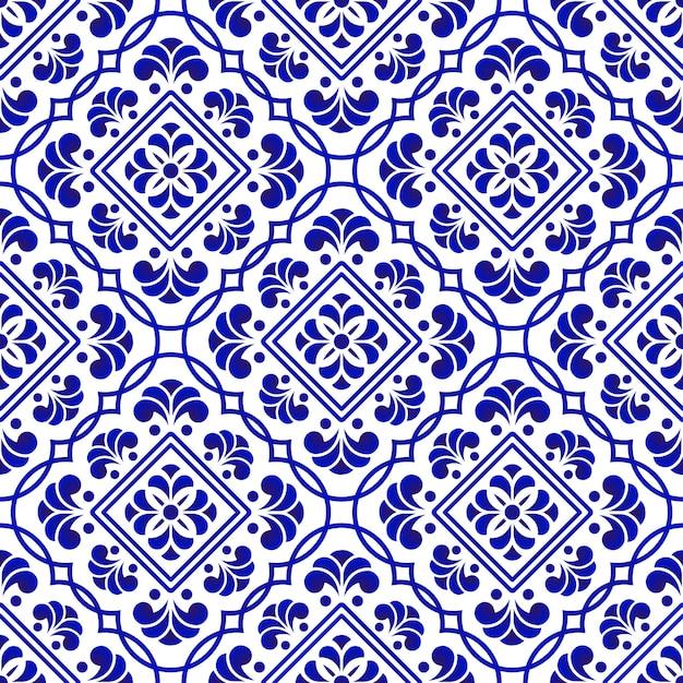 Azulejo azul e branco Vetor Premium