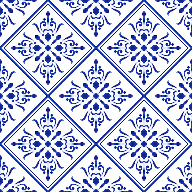Azulejo padrão de damasco azul e branco e estilo barroco Vetor Premium