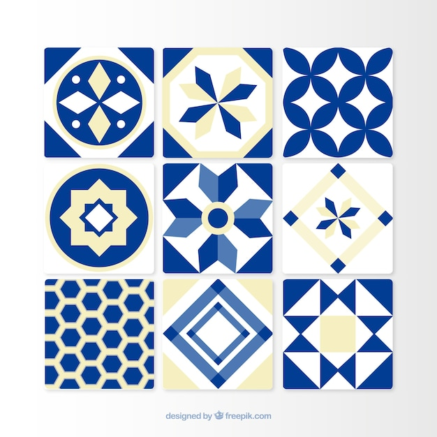 Azulejos azuis ornamentais Vetor Premium