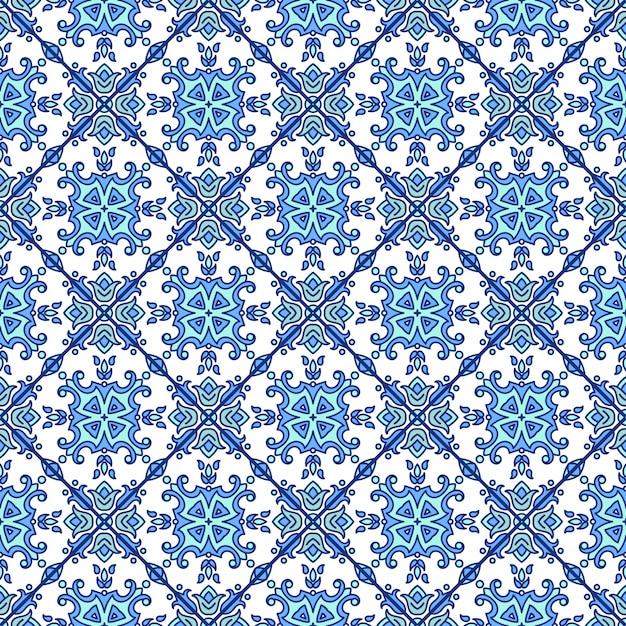 Azulejos azulejos portugueses. azul e branco lindo e sem costura Vetor Premium