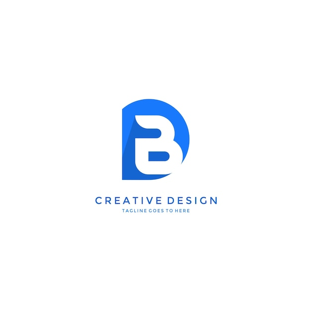 B dentro isolado letra d logo design Vetor Premium