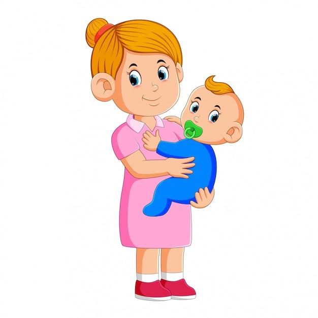 Babá cuidando do bebê Vetor Premium