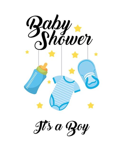 Baby shower é um menino de roupas de garrafa de sapato pendurado cartão de decoração Vetor Premium