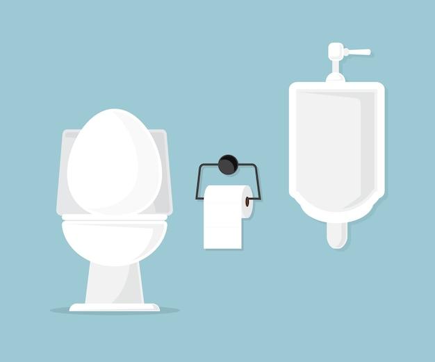 Bacia de toalete e mictório na ilustração do vetor do banheiro Vetor Premium