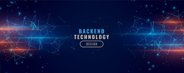 Backend digital banner tecnologia conceito partícula fundo design Vetor grátis