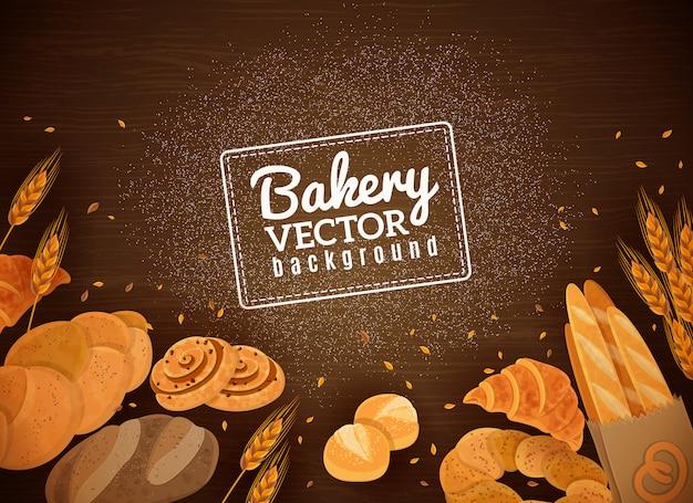 Backery pão fresco fundo de madeira escura Vetor grátis