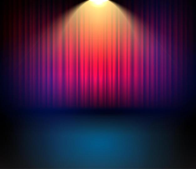 Backgorund de cortinas de teatro festivo para concerto. cenário de entartainment de show de palco com cortinas. Vetor Premium