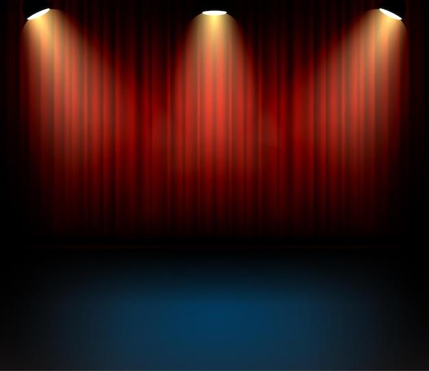 Backgorund de cortinas de teatro festivo para concerto. cenário de entartainment de show de palco. Vetor Premium