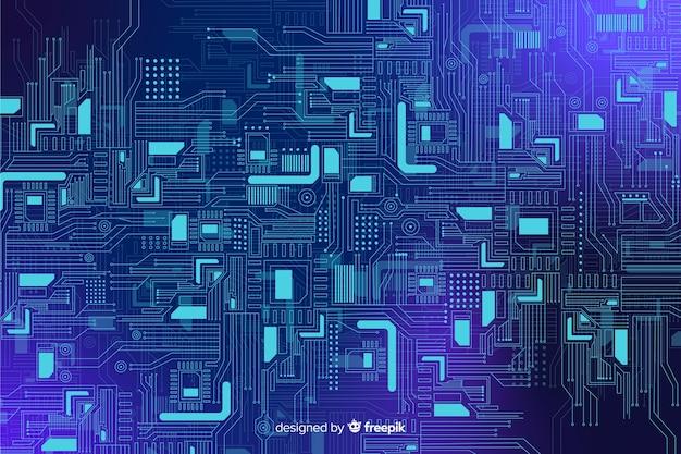 Backgrond azul realístico da placa de circuito Vetor grátis