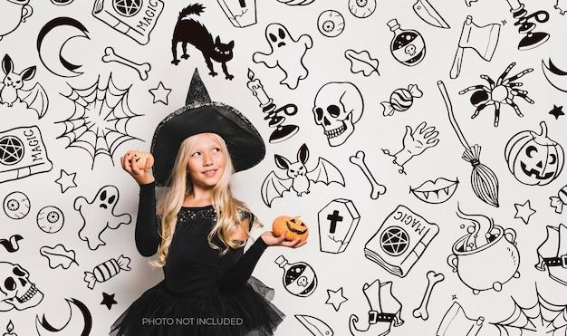 Background halloween rabiscos em preto e branco Vetor grátis
