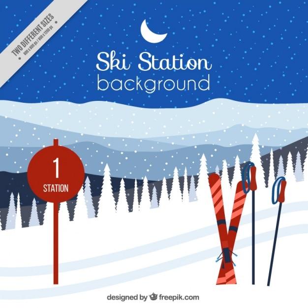 Backgroundo da estação de esqui com acessórios Vetor grátis