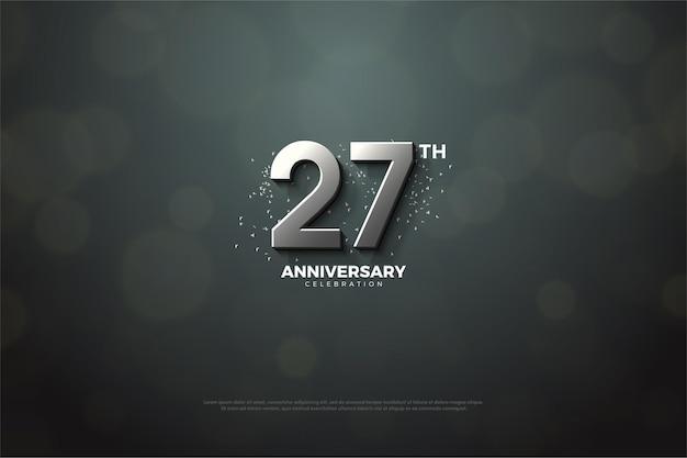 Backround do 27º aniversário com ilustração numérica prata. Vetor Premium