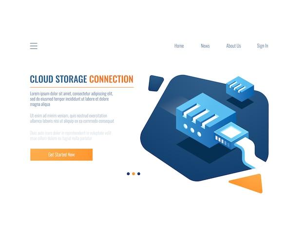 Backup de dados, armazenamento em nuvem do sistema de dados clone, serviço de armazenamento de arquivos, plug-in na rede Vetor grátis