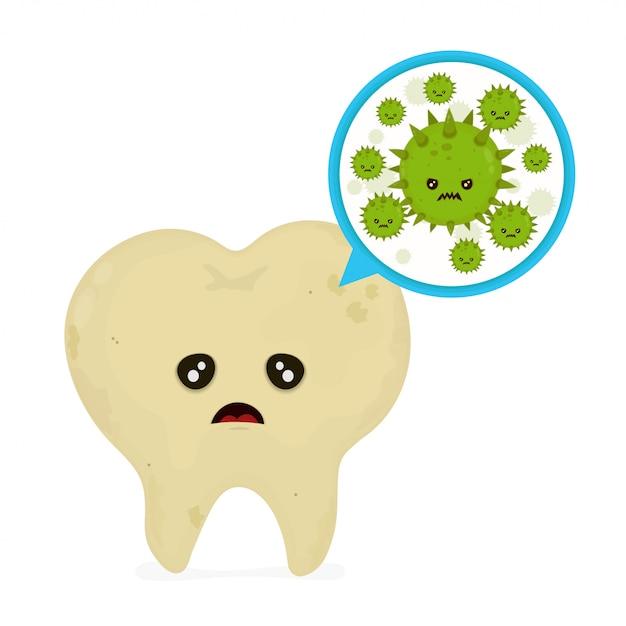 Bactérias e vírus microscópicos da cárie em torno do dente em uma boca virtual. Vetor Premium