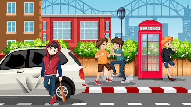 Bad teengaers na rua Vetor grátis