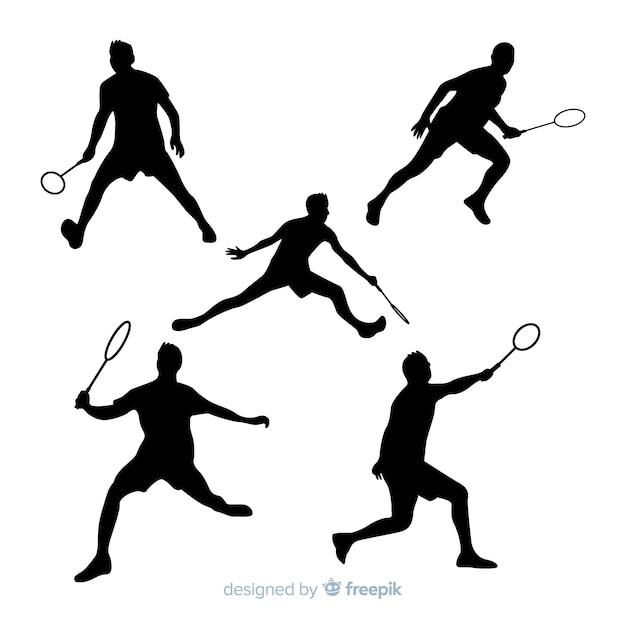 Badminton jogador silhueta collectio Vetor grátis